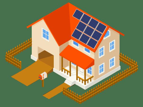 imagem casa com sistema solar fotovoltaico